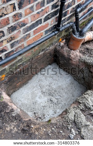 underpinning of a victorian property part of a sequence of images illustrating the process - stock photo