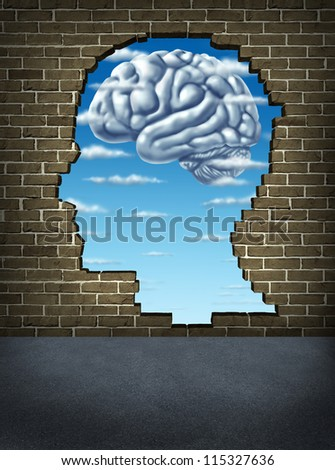 Understanding human intelligence with a broken brick wall in the shape of a head as a sky and clouds in the shape of a brain as a health care symbol of mental well being and neurology research. - stock photo