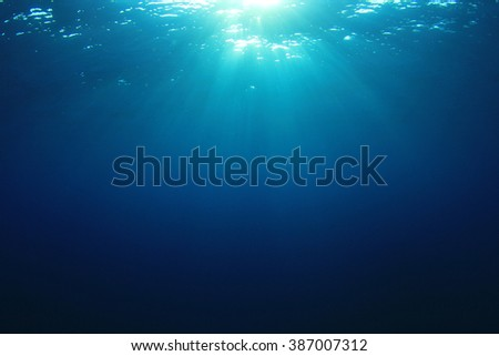 Underwater abstract blue ocean background - stock photo