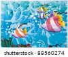 Underwater and marine's life, Kid's watercolor painting on paper - stock photo