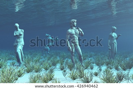 Underwater archaeology Computer generated 3D illustration - stock photo
