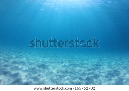 Underwater Background in blue sea water - stock photo