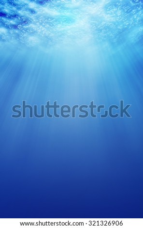 underwater background with  sunlight - stock photo