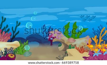 Underwater cartoon scene 669389758 shutterstock underwater cartoon scene voltagebd Gallery