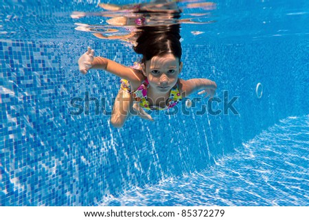 Underwater kid in swimming pool. Child sport