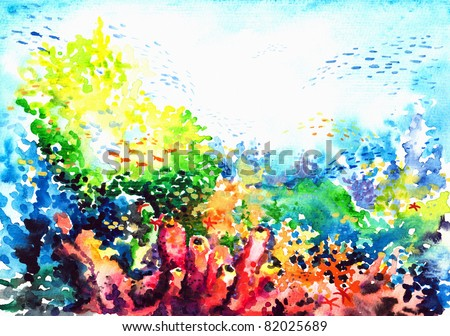 Underwater landscape with coral reef watercolor painted. - stock photo