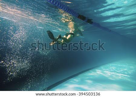 Underwater Man, Man Swimming in Pool, Swimmer Underwater - stock photo