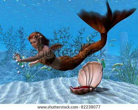 Underwater Mermaid - A beautiful mermaid reaches out to play with bubbles in her underwater garden. - stock photo