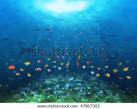 Underwater scene with fishes - stock photo