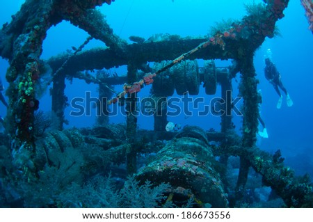 Underwater scene with steel artificial reef, Green Island, Taiwan. - stock photo