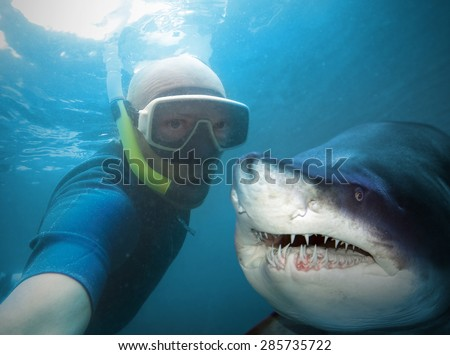 Underwater selfie with friend. Scuba diver and shark in deep sea. - stock photo
