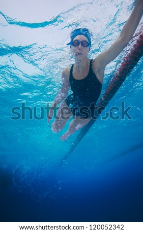 Underwater shoot of a professional sportsman swimming in crawl style - stock photo