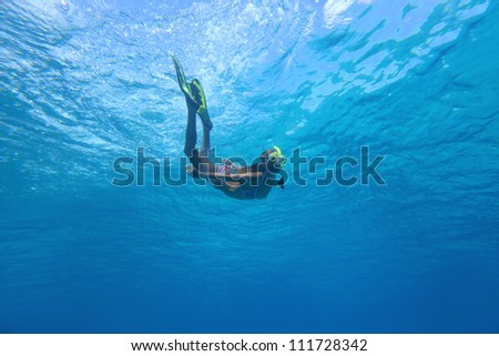 Underwater shoot of a young woman in clear sea