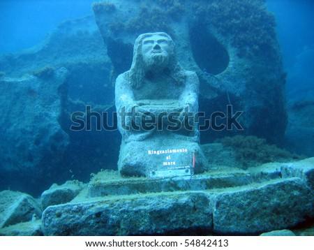 Underwater Statue - stock photo