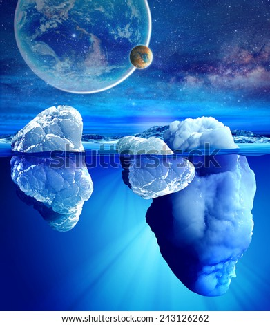 Underwater view of iceberg with beautiful transparent sea and planets on background.Elements of this image furnished by NASA - stock photo
