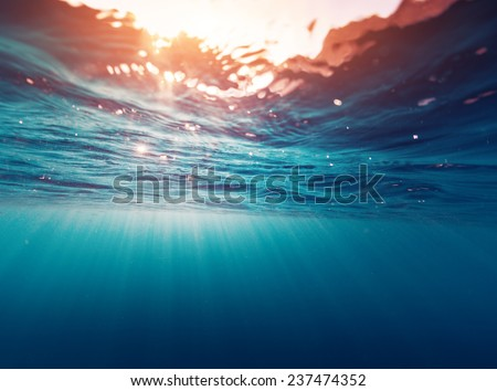 Underwater view of the sea surface - stock photo