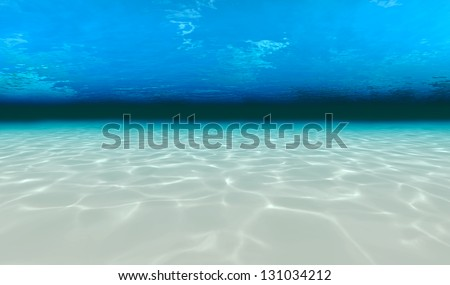 underwater walk on the sea floor - stock photo