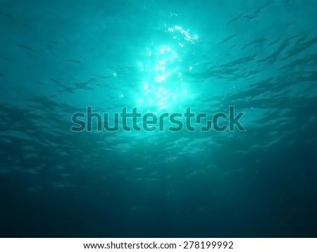 Underwater with sunshine  - stock photo