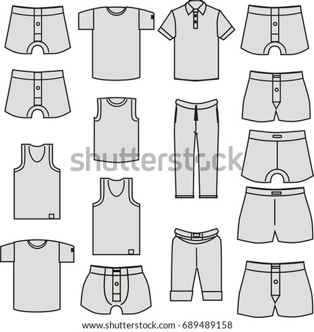 Underwear Men Template Gray Clothes Icons Stock Illustration ...