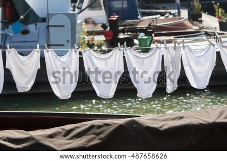 Underwear on a clothesline on a ship in Rotterdam in the Netherlands & Vintage Underwear Stock Images Royalty-Free Images u0026 Vectors ...
