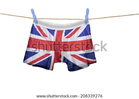 Underwear with the UK flag on a string against white background - stock photo
