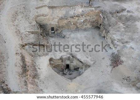 Unearthed tombs in the Valley of the Kings in Egypt, Africa - stock photo