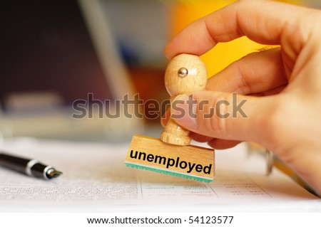 unemployed stamp in office showing job search concept - stock photo