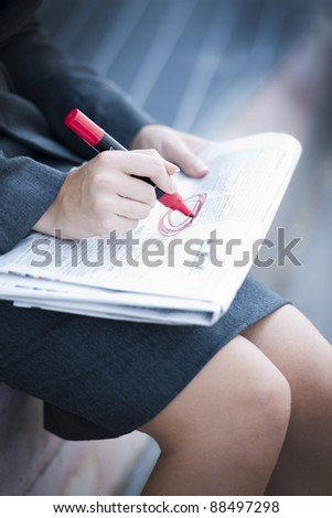 Unemployed Woman Looking For Work - stock photo