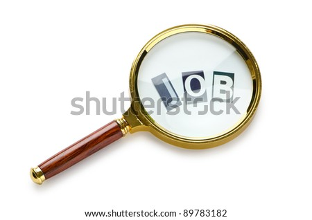 Unemployment concept with magnifying glass - stock photo