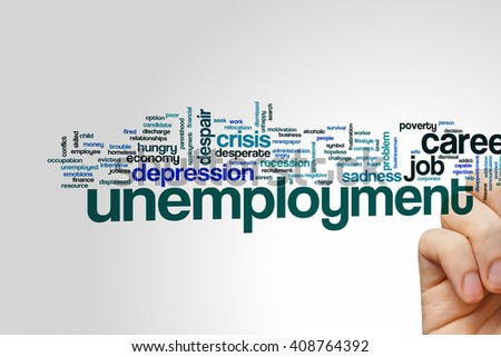 Unemployment concept word cloud background - stock photo