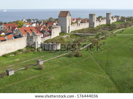 Unesco world heritage Visby citywall onn the island Gotland in the Balticsea in Sweden - stock photo