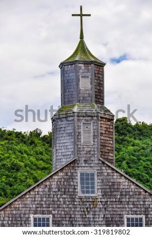 UNESCO World Heritage Wooden Church, Chiloe Island, Patagonia, Chile - stock photo