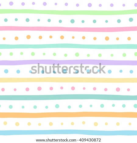 Uneven multicolored stripes and dots seamless pattern. Free hand drawn colorful bars and round spots on white background. Abstract colourful streaks and dots texture. Raster version. - stock photo