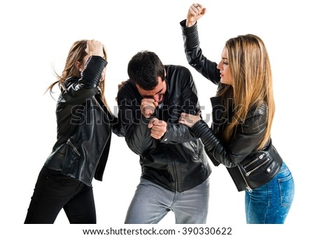 Unfaithful man with her ex-girlfriends - stock photo