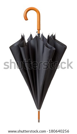 Unfastened Black Umbrella isolated on white with a clipping path.  - stock photo