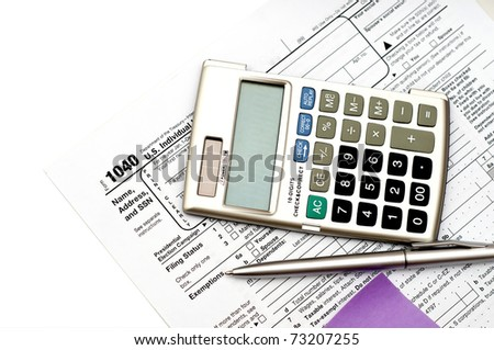 unfiled us tax form isolated on a white background - stock photo