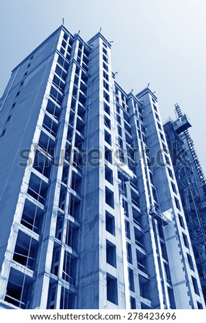 unfinished high level residential in a construction site - stock photo