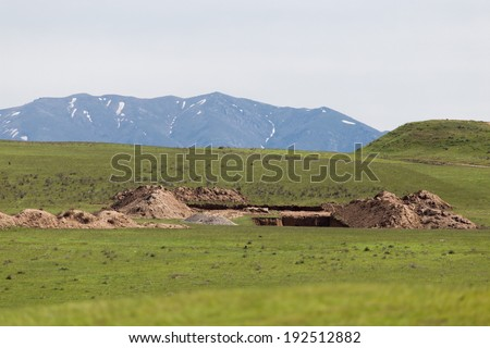 unfinished house on the nature - stock photo
