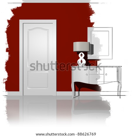 unfinished illustration interior design - stock photo