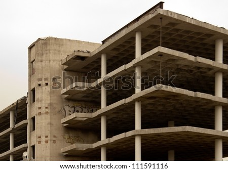 Unfinished panel building in Ostrava, Czech republic - stock photo