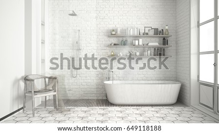 Unfinished Project Scandinavian Classic Vintage Bathroom Stock Illustration 649118188