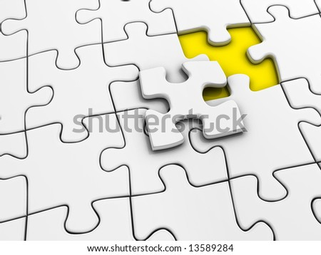Unfinished white jigsaw puzzle - rendered in 3d - stock photo