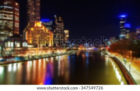 Unfocused Melbourne City background at night