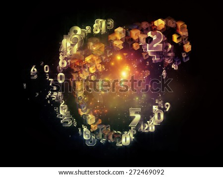 Unfolding Symmetry series. Abstract composition of numbers, graphic elements, lights suitable as element in projects related to  metaphysics, religion, philosophy, science and modern technology - stock photo