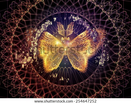 Unfolding Symmetry series. Design made of numbers, graphic elements, lights to serve as backdrop for projects related to  metaphysics, religion, philosophy, science and modern technology - stock photo
