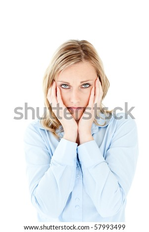 Unhappy blond businesswoman looking at the camera against white background - stock photo