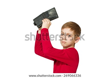 Unhappy boy showing old empty wallet isolated on white