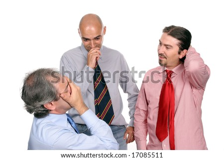 Unhappy business team, manager praying for better days, shot taken from manager's perspective