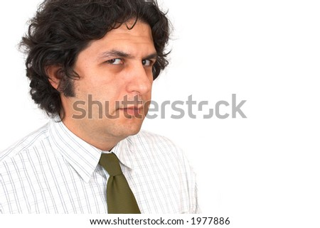 unhappy businessman close up on white, space for messages - stock photo