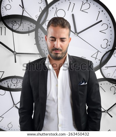Unhappy businessman fired for the continued delay - stock photo